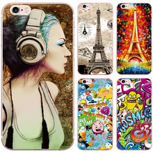 Pretty Belle Bus Iron Tower Pattern Case for iphone 5 5S SE 6 6S 7 Transparent Clear Soft Silicon TPU Phone Back Cover Cases