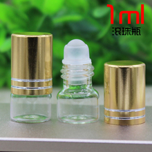 1ML transparent glass bottle with glass ball roll on for eye cream,perfume,essential oil,lip gloss bottle roll on bottle(China)
