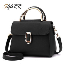 Gold color lock decoration Pu leather handbag women handbag Pure color black white female tote bag Sgarr brand big bag for women