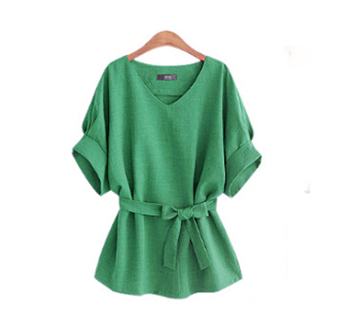 2018-Summer-5XL-Plus-Size-Women-Shirts-Linen-Tunic-Shirt-V-Neck-Big-Bow-Batwing-Tie (1)