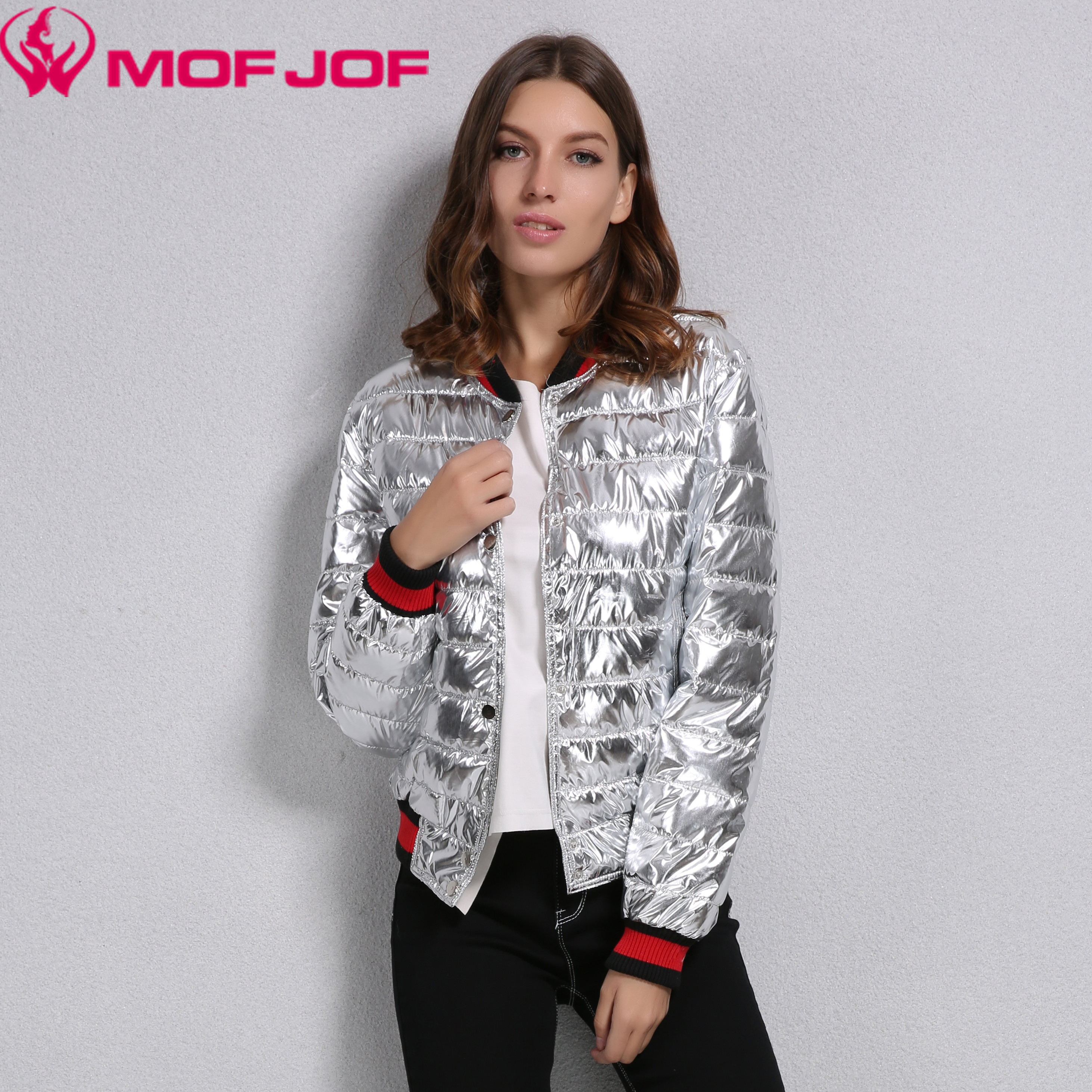 Fashion Women Metallic Shiny Silver Baseball Bomber Slim Fit Jacket Ladies Quilted Short Jacket MofjofÎäåæäà è àêñåññóàðû<br><br>