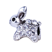 1Pc New European White Rabbit Charm Fashion Style Beads Alloy Bead Fit Pandora BIAGI Bracelets Bangles