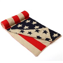 Men 2017 Fashion Women Stars Cotton Long Shawl Winter Thickness Knitted US Flag Scarves Charm Chevron Stripes Scarf Wrap(China)