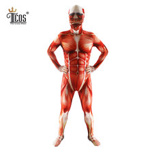 Attack On Titan Men Cosplay Costumes Titans Muscle Muscular Suit Bodysuit Bertolt Hoover Lycra Flesh Zentai Halloween Costume(China)