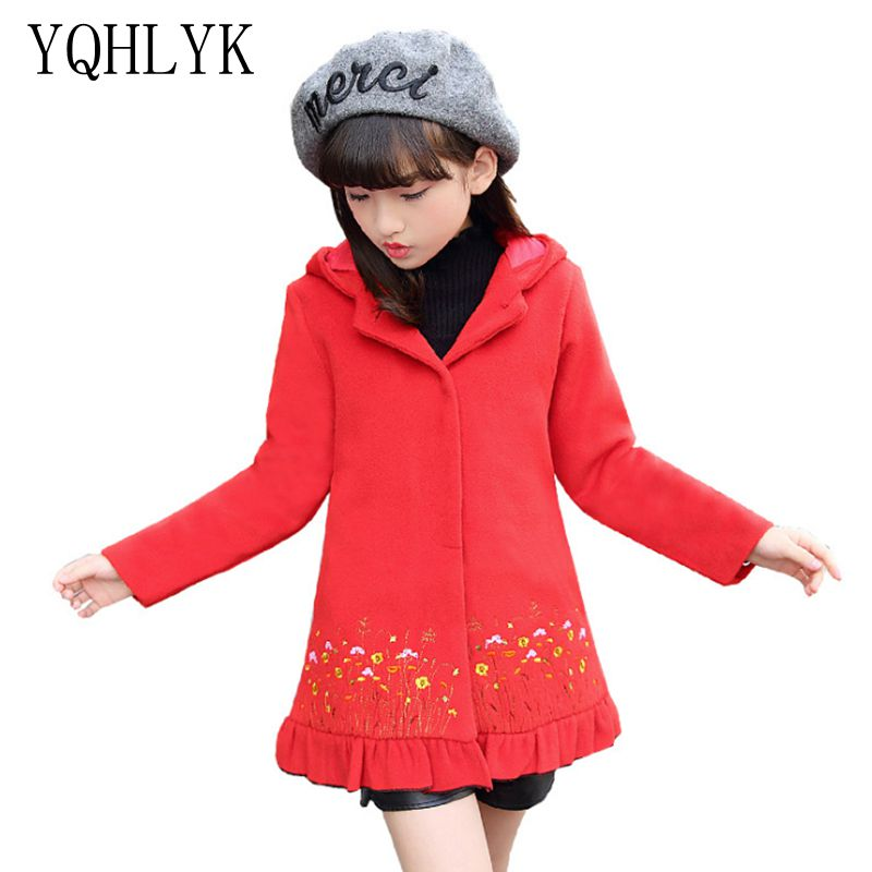 New Fashion Autumn Winter Girls Coat 2017 Korean Children Hooded Thicken Woolen Overcoat Sweet Casual Kids Clothes W48<br>