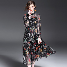 Long Dress Women 2017 Spring Fashion Sea Animals Printed Ruffled Collar Long Sleeved Slim A-Line Casual Dress Female S-XL