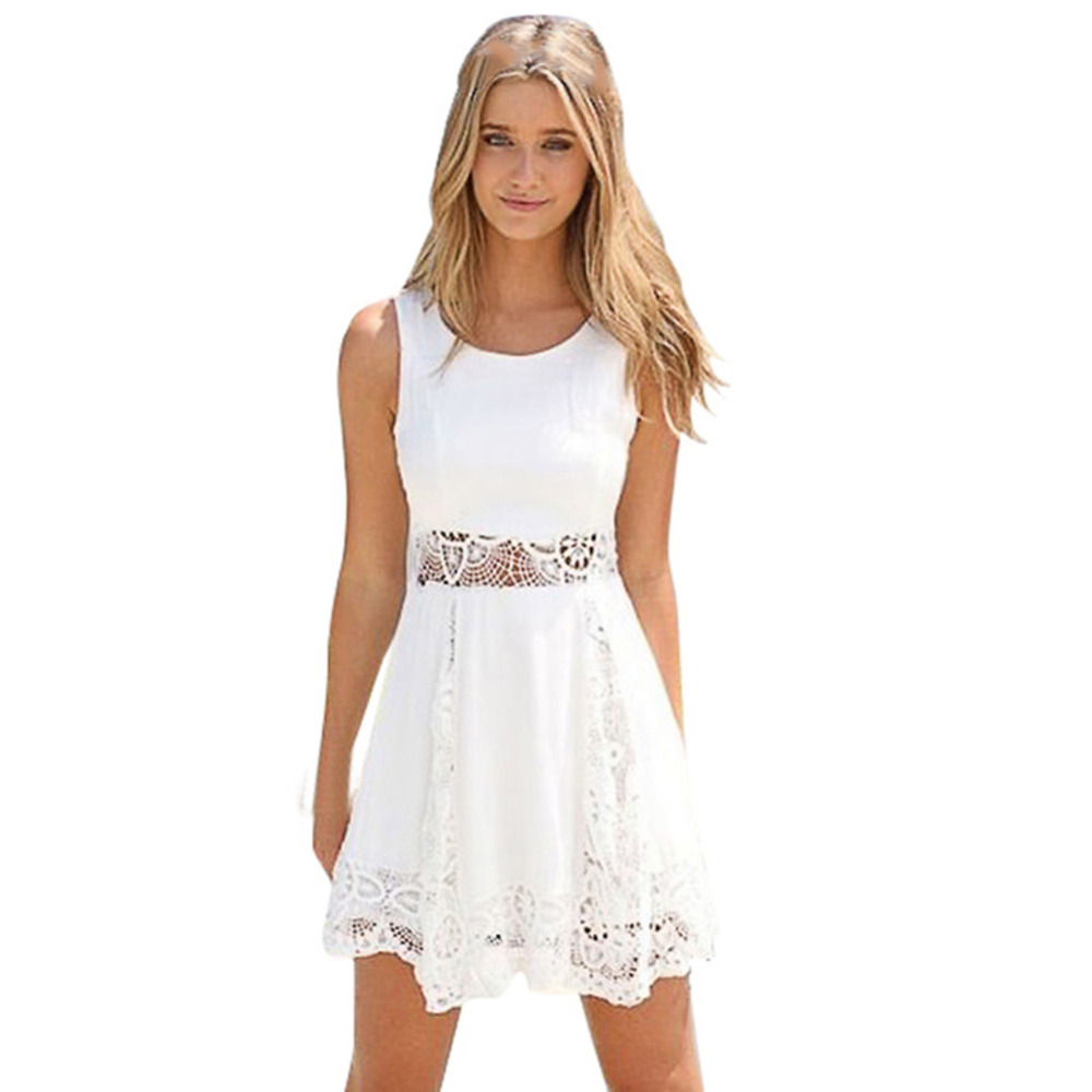 2018 Fashion Women Clothing Summer Lace Dress Femal Hollow Mini White Dress Loose Casual Sexy Party Dress S- 6XL Plus Size