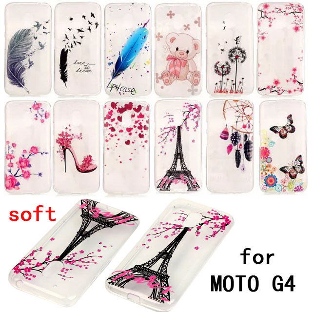 TPU soft painting styles special phone back cover transparent protect skin shell For Motorola Moto G4 case free shipping(China)