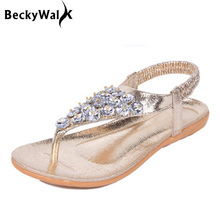 Buy 2017 Women Sandals Summer Style Fashion Bling Flip Flops Sandals Women Golden/Silver Flat Beach Shoes Woman WSH2447 for $9.99 in AliExpress store