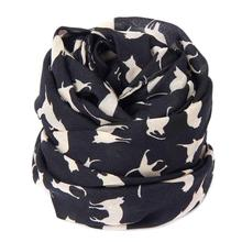 Cut Cat Printed Scarf Women Summer Chiffon Scarves Black Lady Shawl Wraps Woman Soft Silk Long Scarf Hijab Echarpe #Zer