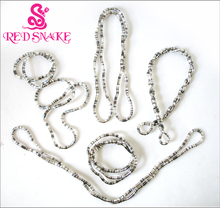 RED SNAKE 5pcs Wholesale Bendy Fashion Flexible Silver plated+Black Mixedcolor Snake Necklace 90cm*5mm Larger(China)