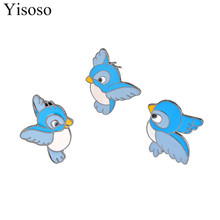 Yisoso Cartoon Flying Blue Bird Brooch Pins for Women Men Accessory Badges New Blue Enamel Brooches Mujer Fashion Jewelry XZ011
