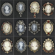 Factory Direct Sale Assorted Styles Crystal Rhinestones Cameo Vintage Brooch Pins for Women in Antique Gold / Silver Colors(China)