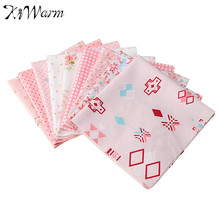 Best Price 9Pcs Pink Assorted Prints Pre Cut Cotton Fabric Cloth Decorative DIY Crafts Doll Sewing Handmade Textiles 25*25cm