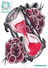 Rocooart LC-315 21*15cm Body Art Red Rose Hourglass Large Tatoo Sticker New Designer Temporary Fake Flash Tattoo Stickers Taty