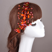 orient red bridal hair accessories crystal flower bendable tiara forehead wedding headdress prom hair jewelry free shipping