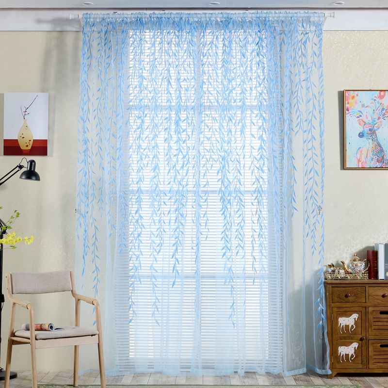 Home Beautiful Tulle Room Window Curtain Sheer Panel Drapes Curtain Leaves Print Translucidus For Kitchen For Study Room