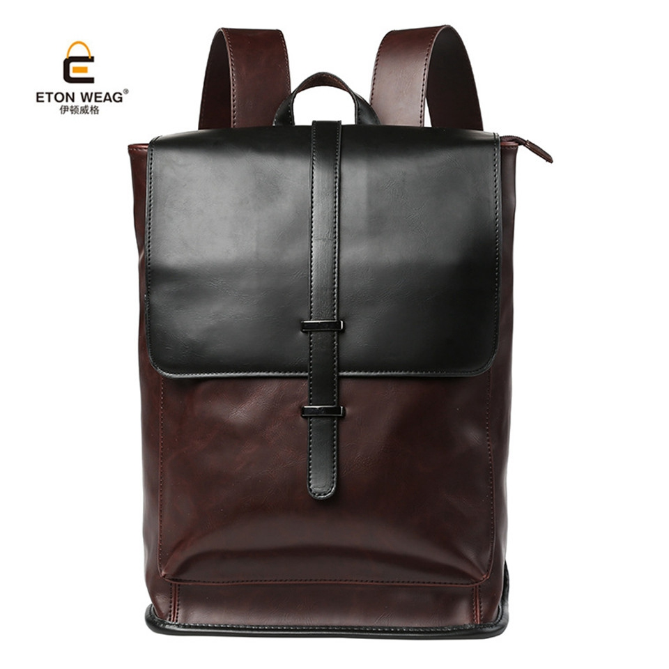 ETONWEAG 2017 Famous Brand Backpack Vintage Business Style Quality Microfiber Leather School Bag for College Men Casual Daypacks<br>