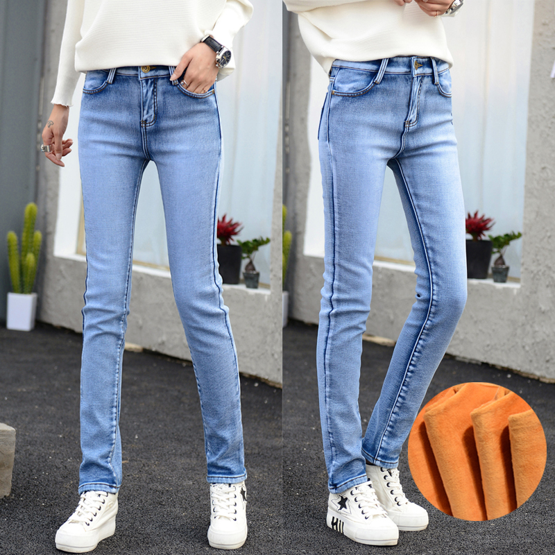 Warm Jeans Women Cashmere Pants  Woman Winter Female Stretch Elastic Straight Fashion High Waist Wool Femme Denim Long TrousersОдежда и ак�е��уары<br><br><br>Aliexpress