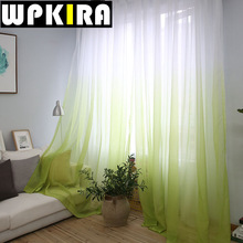 Fashion Green Tulle Curtains Window Drapes Blinds Sheer Voile Gauze Blue Curtains Cafe Kitchen Curtain Living Room Balcony 30