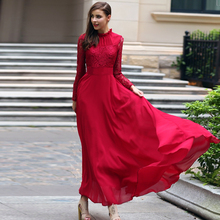 Europe USA Bohemia long dress women High end temperament lace chiffon dresses female spring autumn large swing red dresses 7022(China)