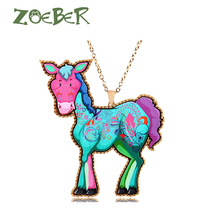 ZOEBER Natural donkey chain choker charm Features Mule necklace Acrylic Unisex fashion jewelry Neck accessories chokers colar(China)