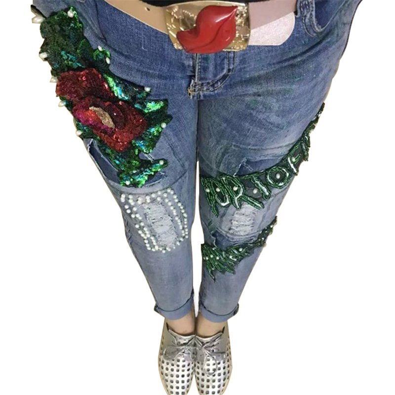 LUCKY STAR Brand Rose Sequin Jeans Boyfriend Jeans For Women Flare Beads Hole Pantalones Vaqueros Mujer High Waist Ripped JeansОдежда и ак�е��уары<br><br><br>Aliexpress