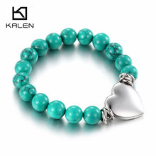2017 Kalen Cheap Female Plastic Beaded Bracelets Stainless Steel Silver Color Heart Bracelets From China Jewelry Manufacturer(China)