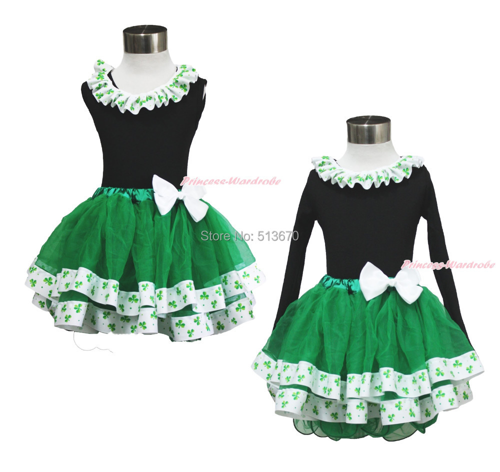 St Patricks Day Green Clover Black Top Satin Trim Pettiskirt Baby Girl Set 1-8Y MAPSA0398<br><br>Aliexpress