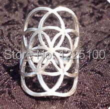 Free shipping! silver adjustable flower of life ring, seed of life ring rhodium plating,free size 7-9(China)