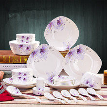 28pcs Chinese cutlery set classical tableware creative ceramic dish combination family reunion dinnerware(China)