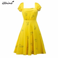 iShine LaLaLand Elegant Vintage dress 1950s Hepburn cute party dresses floral print Sexy slim summer girl yellow vestidos(China)
