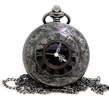 2017 New Black Gray Roman Dial quartz Vintage Antique Pocket steampunk Watch necklace watches with chain for Gifts Dropshipping