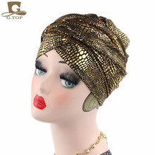 2017 NEW Luxury gilding Head Wrap African head Scarf for women jewish long Turban Women Headwraps Chemo Headscarf