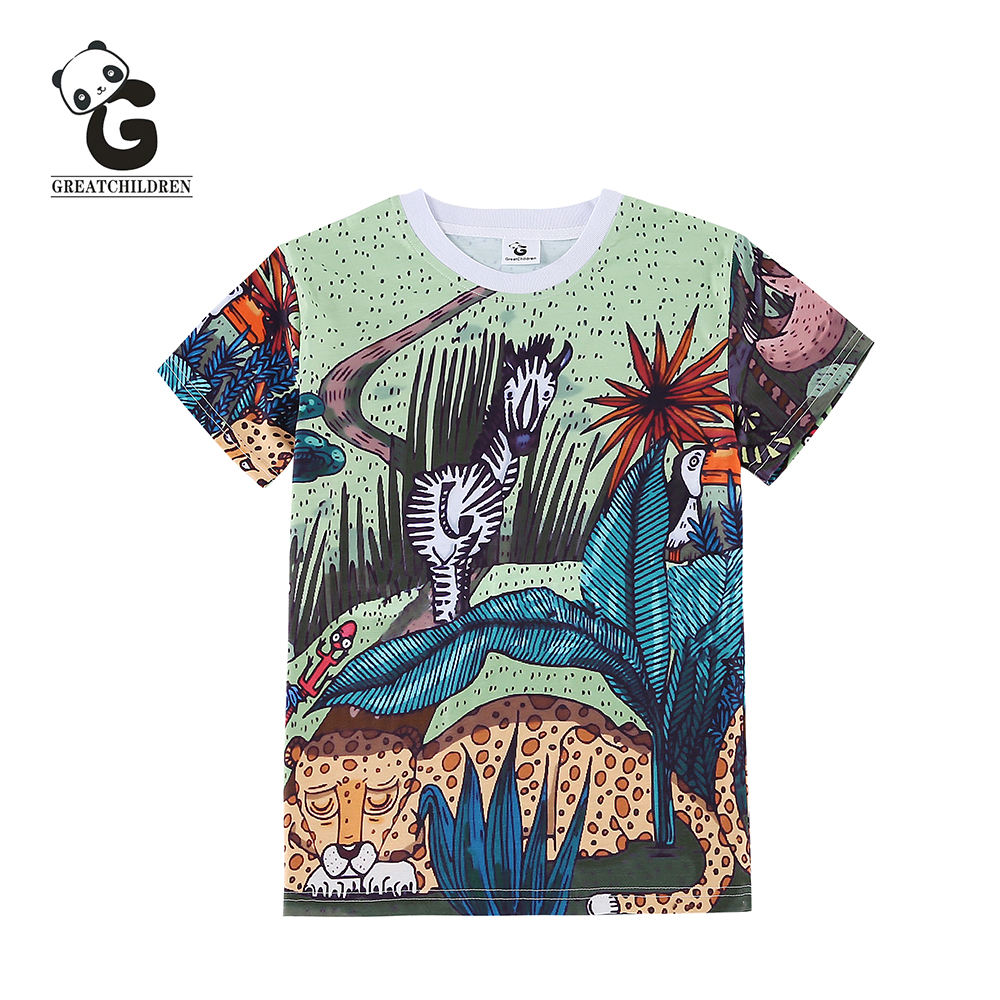 Summer Boys T-shirts Children 3D Animal Print T Shirt For Boys Tops T-Shirt Boy Teens Child Shirt Kids Clothes 3-8Y(China (Mainland))