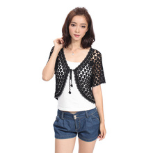 2016 Hot Sale Fashion hand knitted Women's Brand hollow flower 3 Colors Shrug Short Sleeve Cardigan party Casual Clothing 8503