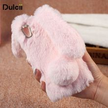 Dulcii For Huawei Y6II Cases Bunny Design Rhinestone Furry TPU Mobile Casing for Huawei Y6 II/Y6II/Honor 5A - 5.5 inch(China)