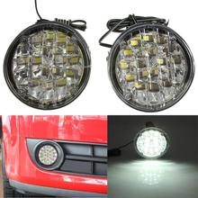 New 2Pcs 12V 18 LED Round Car Driving Daytime Running Light DRL Fog Lamp Bright White Car LED Offroad Work Light