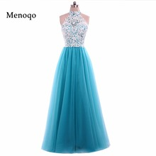Menoqo New Arrival Real Photo Lace Tulle Prom Dresses Long A line Halter neck Zipper Back Women Evening Gowns W1702065(China)
