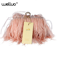 Designer Women Fur Bags Famous Brand Women Clutches Ladies Evening Clutch Purse Fashion  Hand Bag ostrich feather Clutch XA567B