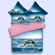 Free shipping shark fish comforter doona duvet cover queen king twin size blue ocean bedding bed sets home textile bed linen