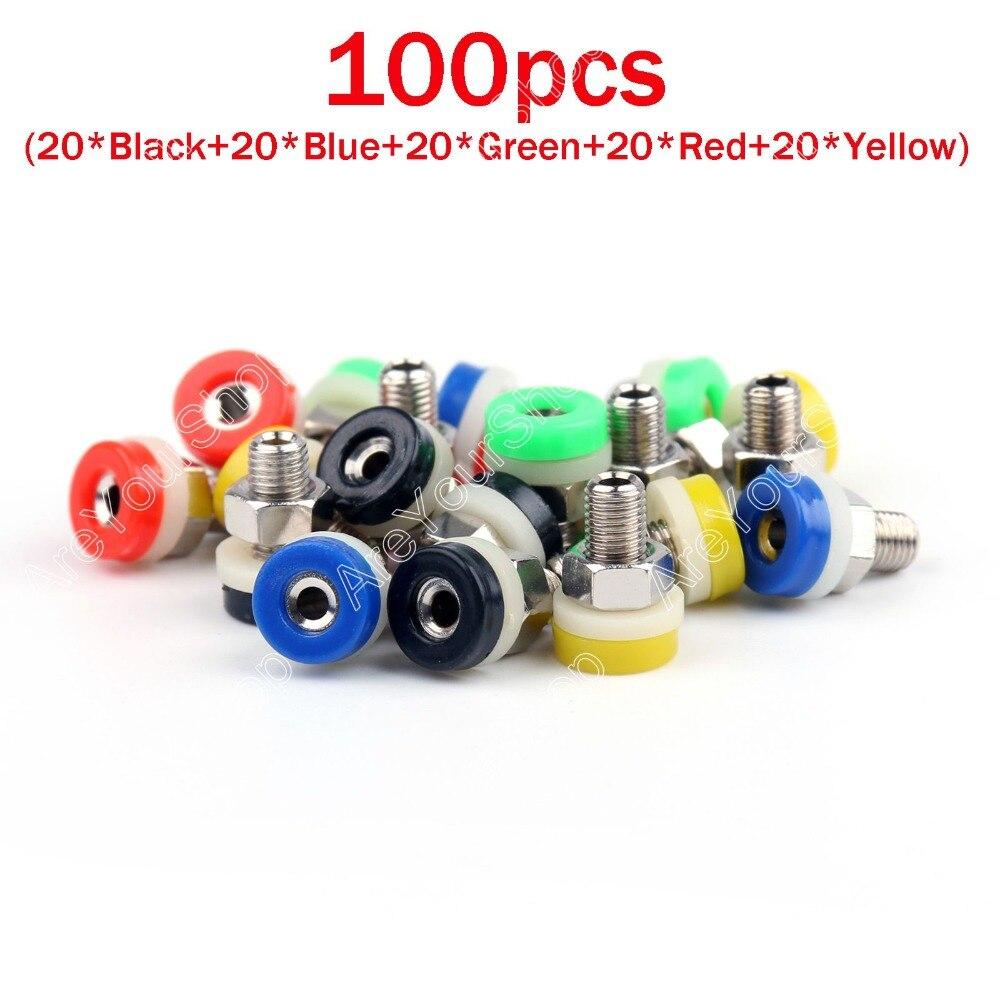 Hot Sale 100 Pcs 5 Color Brass 2mm Banana Socket Jack for 2mm Banana Plug Test<br><br>Aliexpress