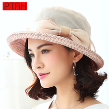 PTAH 2017 Summer Visor Wide Large Brim Straw Beach Tour Sun Hats Adjustable For Women Fashion High Quality Sombreros Caps PT2016