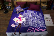Italy Milano Castle Girl Printed bedding full queen size comforter sets Egyptian cotton 600TC bedroom decoration 4-5 pcs blue(China)