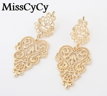 MissCyCy 2016 New Fashion Fine Jewelry Bohemia Style Hollow Alloy Leaves Stud Earrings For Women(China)