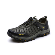 Spring/Summer Mens Sports Shoes Walking Men Mountain Shoes Mesh Breathable Hunting Shoes Gray/Brown Outdoor Shoes Men Climbing
