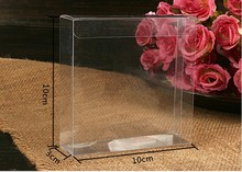 50Pcs/lot Plastic Clear PVC Candy Boxes for Packing Gifts and Display Goods for Showing 10*10*3cm