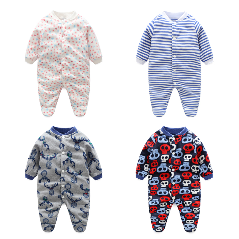 Baby Boys Romper Girls Jumpsuit Kids Clothing Winter Newborn Animal Cartoon Fleece Baby Body Suit Cartoon Long Sleeve Clothes(China (Mainland))