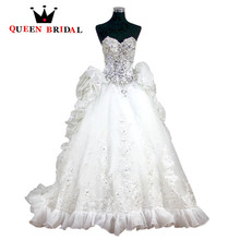 Buy QUEEN BRIDAL Ball Gown Sweetheart Crystal Diamond Ruffle Long Train Luxurious Wedding Dresses robe de mariage Bridal Gowns XJ03 for $552.54 in AliExpress store
