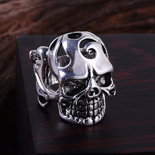 2017 Punk Vintage Trend Men's Rings For Male Gothic Skull Flower Biker Zinc Alloy Ring Man Fashion Rings Free shipping sa980(China)